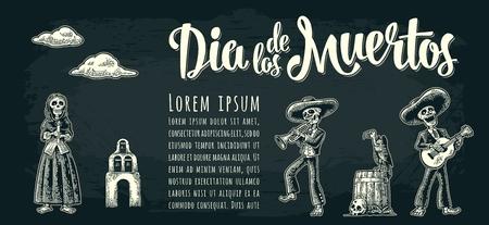 Horizontales Plakat für Tag der Toten mit Dia de Los Muertos Schriftzug Standard-Bild - 88222668