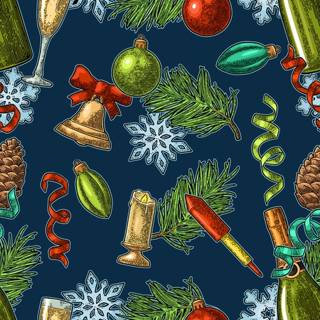 원활한 패턴 새 해입니다. 달필 레터링 경례입니다. 샴페인 글래스, 병, 뱀, 로켓, 눈송이, 소나무 콘, 장난감, 전나무 분기. 진한 파란색 배경에 벡터 빈