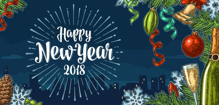Happy New Year calligraphy lettering and champagne glass, bottle, serpentine, rocket, snowflake, pine cone, candle, toy, fir branch. Vector vintage color engraving on background night city