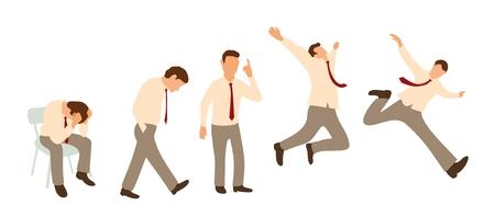 Establecer personajes poses. empresario está bajo estrés, hombre agitando los brazos