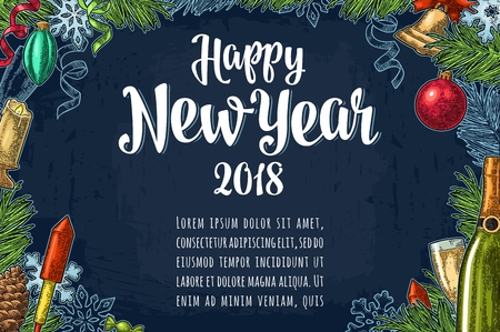 Poster horizontal Happy New Year calligraphy lettering with salute Иллюстрация