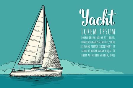 Horizontale poster voor jachtclub met tekstsjabloon. Vector gravure