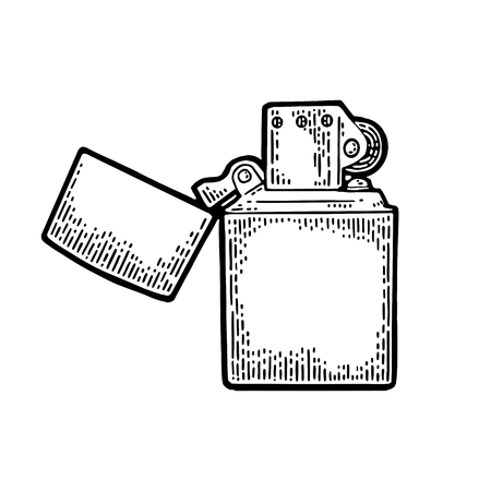 Accendino aperto. L'annata di vettore ha inciso l'illustrazione nera isolata su bianco Archivio Fotografico - 88211184