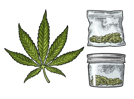 마리화나 잎, 뚜껑이있는 유리 항아리, 대마초 용 비닐 봉지. 손으로 그린 된 디자인 요소입니다. 레이블, 포스터, 웹에 대 한 빈티지 검은 벡터 조각 그