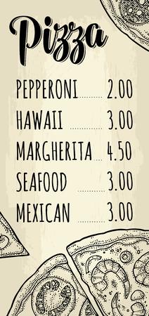 Restaurant of café menu pizza met prijs.