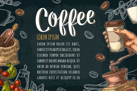Template poster with hand holding disposable cup coffee Illustration
