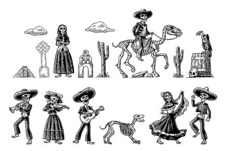 Dia de los Muertos. The skeleton in Mexican national costumes Illustration