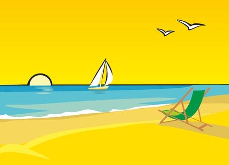 해변의 자 라운지. 바다에 떠있는 요트