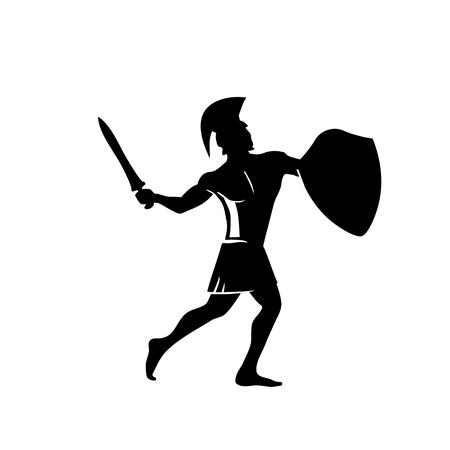 Guerriero spartano con l'elmo tradizionale in testa con spada e scudo. Archivio Fotografico - 88305821