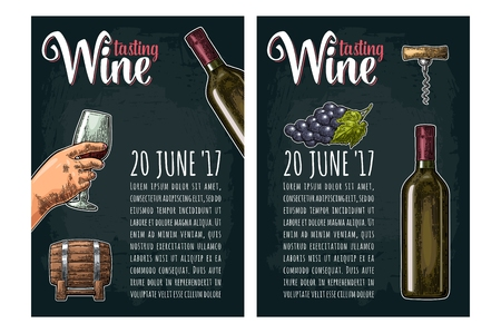 Vertical poster. Wine tasting lettering. Bottle, corkscrew, bunch of grape Illustration