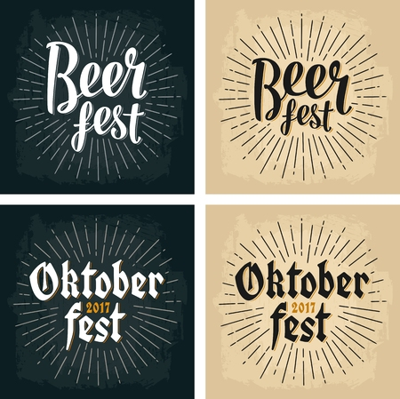 Oktoberfest 2017 and Beer Fest lettering with rays