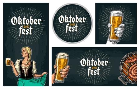 Bierkraan. Vintage vector gravure illustratie voor web, poster, uitnodiging tot bierfeest. Stock Illustratie