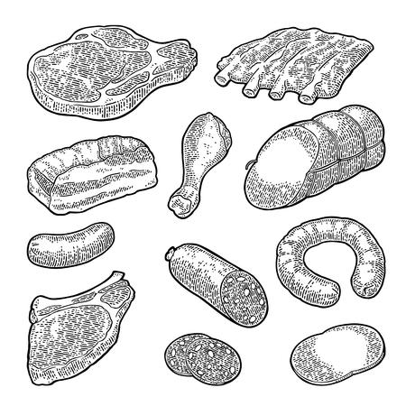 Set of meat products in vintage, black engraving illustration.