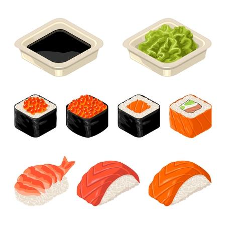 Ensemble de rouleau de sushi isolé sur fond sombre dans la couleur de l & # 39 ; illustration plat Banque d'images - 88292603