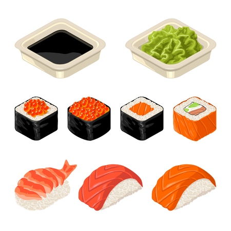 Set of Sushi roll Isolated on dark background in  flat color illustration Иллюстрация