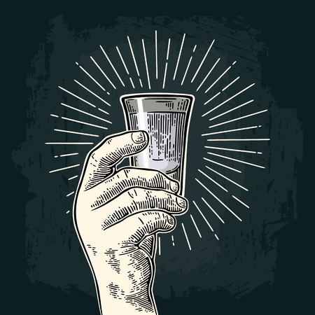 Male hand holding glass rum. Vintage vector engraving
