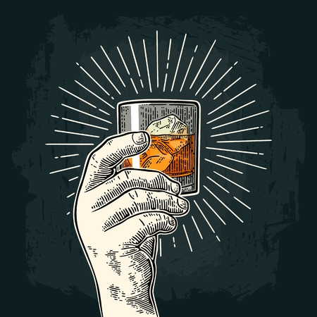 Male hand holding glass whiskey with ray. Vintage vector engraving 向量圖像