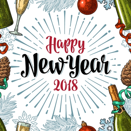 Seamless pattern with Happy New Year 2018 calligraphy lettering