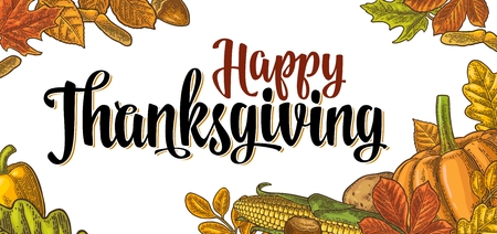 Template for greeting card and poster Thanksgiving day