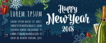 Poster Happy New Year 2018 calligraphy lettering with night city