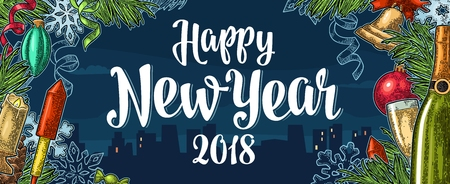 Poster Happy New Year 2018 calligraphy lettering with night city Reklamní fotografie - 88596667