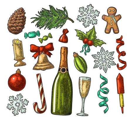 Set vakantie-elementen in vintage gravure illustratie. Stock Illustratie