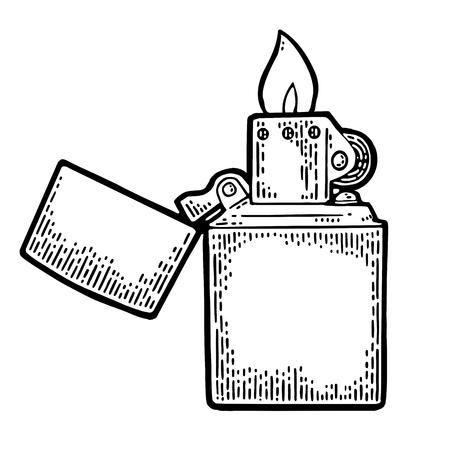 Open aansteker in wijnoogst gegraveerde zwarte illustratie die op witte achtergrond wordt geïsoleerd.