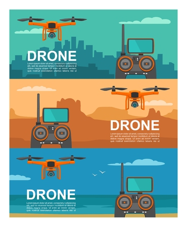 Fly drone with remote control vector illustration.