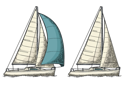 Two sailing yacht vector illustration.