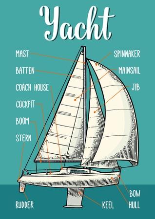 Digiti le vele sull'illustrazione di vettore dell'yacht. Archivio Fotografico - 88935170