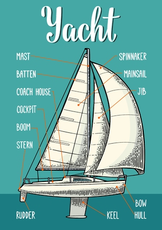Type sails on the yacht vector illustration.