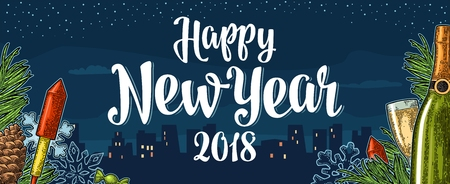Poster Happy New Year 2018 calligraphy lettering with night city vector. Reklamní fotografie - 88935229