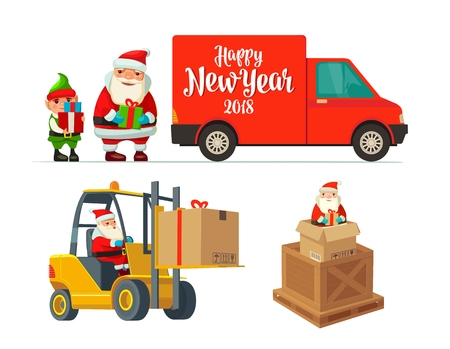 Logistic Santa Claus and elf with a gift. Forklift carries