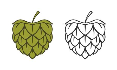 Icon-Hop-Kraut-Pflanze. Vector Schwarz- und Farbillustration, die auf weißem Hintergrund lokalisiert wird. Standard-Bild - 88631491