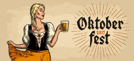 Poster to Oktoberfest festival. Young sexy girl wearing a traditional Bavarian dress dirndl dancing and holding beer mug.