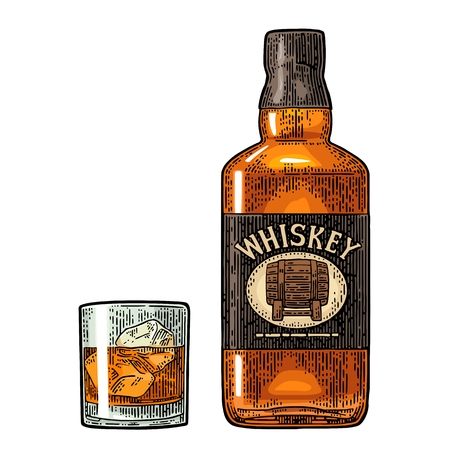 Bottle and glass of whiskey icon.