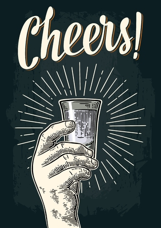 Male hand holding glass vodka. Cheers toast lettering. Vintage color and monochrome vector engraving illustration for label, poster, invitation to party.  イラスト・ベクター素材