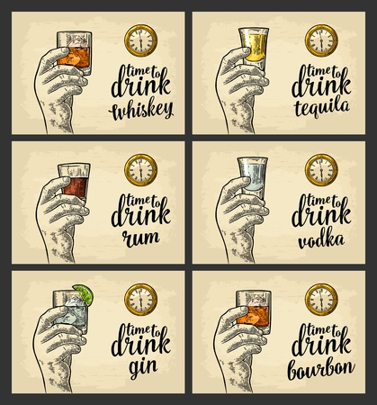 Set of a hand holding an alcohol drink icon.