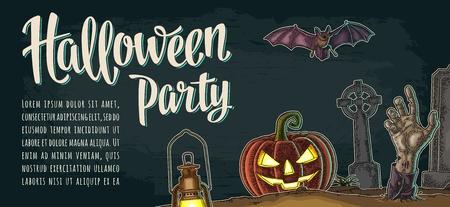 Horizontale poster met halloween feest kalligrafie lettering. Stock Illustratie