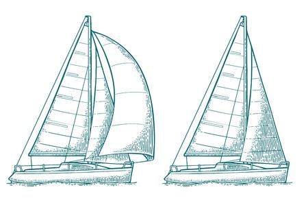 Two sailing yacht. Sailboat. Vector drawn flat illustration