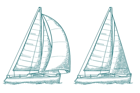 Two sailing yacht. Sailboat. Vector drawn flat illustration