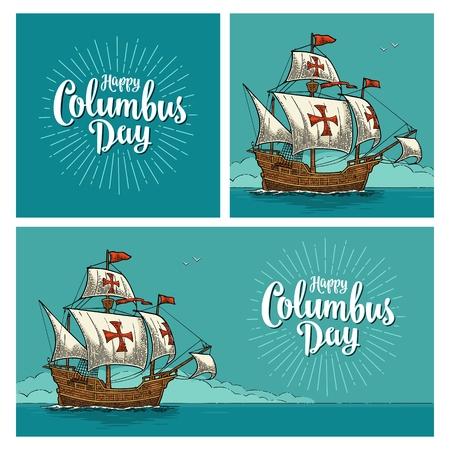 Poster für den Happy Columbus Day. Segelschiff schwimmt auf den Meereswellen. Caravel Santa Maria. Weinlesefarbvektor-Stichillustration ob blauer Hintergrund. Standard-Bild - 88855203