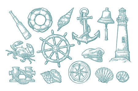 Set sea adventure. Anchor, wheel, bollard, hat, compass rose, shell, crab, bell, lifebuoy, lighthouse isolated on white background. Vector cyan vintage engraving illustration. For poster yacht club.