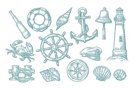 海の冒険を設定します。アンカー、ホイール、ボラード、帽子、コンパス ローズ、シェル、カニ、ベル、救命浮環、白い背景で隔離の灯台。ベクト