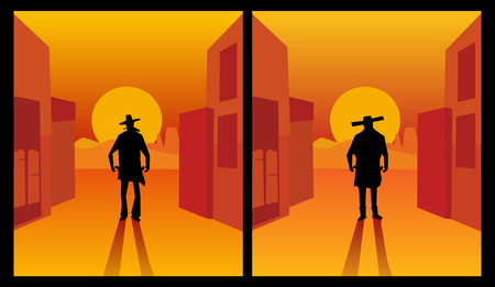 western town: Wild west gunslinger. Background the city and the desert.