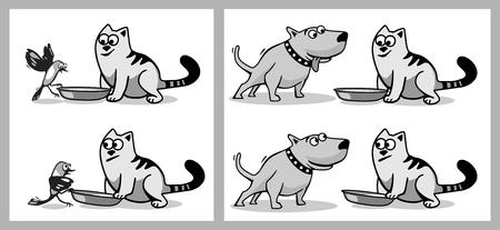 Il cane e l'uccello vogliono mangiare alimenti per gatti. Isolato su sfondo bianco. Vector illustrazione piatto nero e grigio.