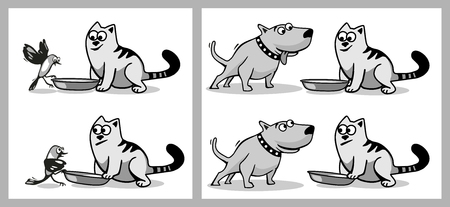 The dog and bird wants to eat cat food. Isolated on white background. Vector black and gray flat illustration. Çizim