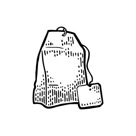 Tea bag with rope and tag icon. Illustration