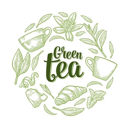 Green tea lettering.