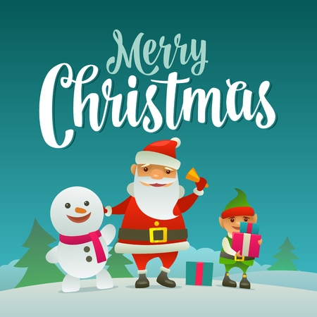 Santa claus, snowman and elf with gift. Flat vector illustration